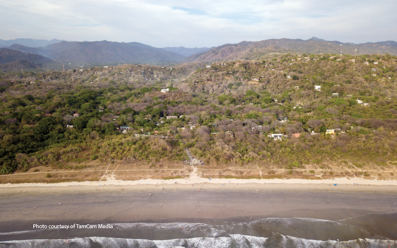 aerial view of the beach in costa rica